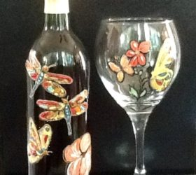 Dragonfly Wine Bottle  Butterfly Wine Glass