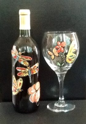 Dragonfly Wine Bottle  Butterfly Wine Glass