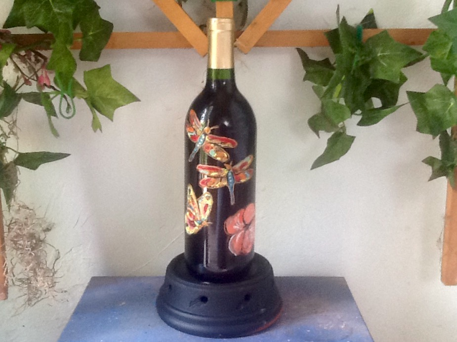 Dragonfly and Butterfly Wine Bottle