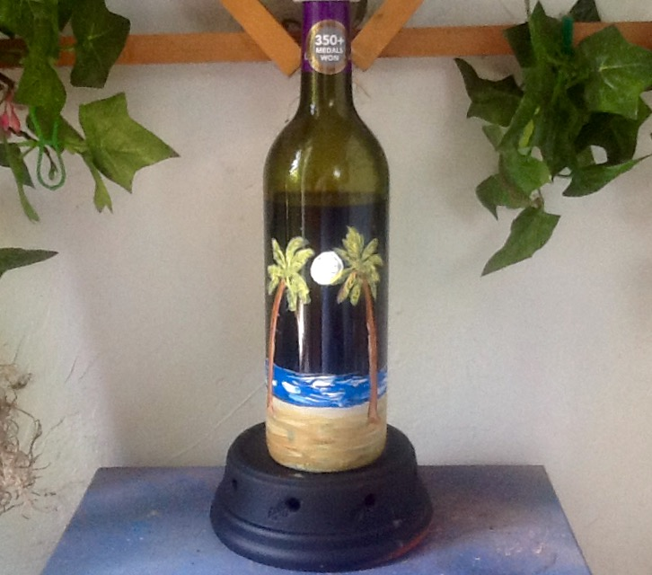 Moonlit Beach Wine Bottle