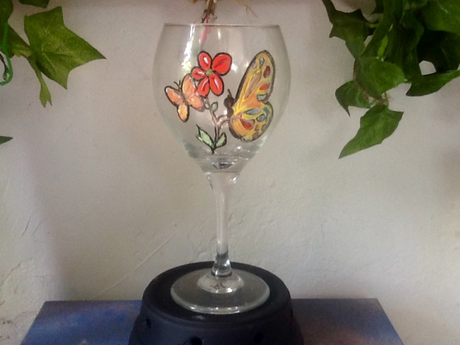 Orange Butterfly and Flowers Wine Glass