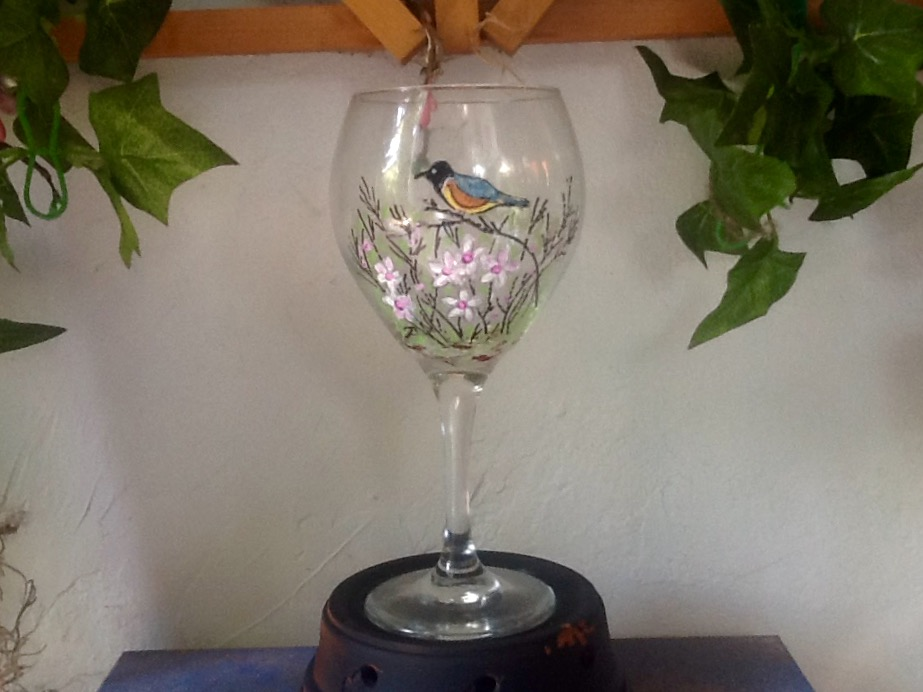 Perched Bird and Flowers Wine Glass
