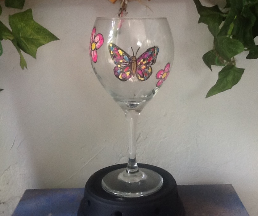 Pink Butterfly and Flowers Wine Glass