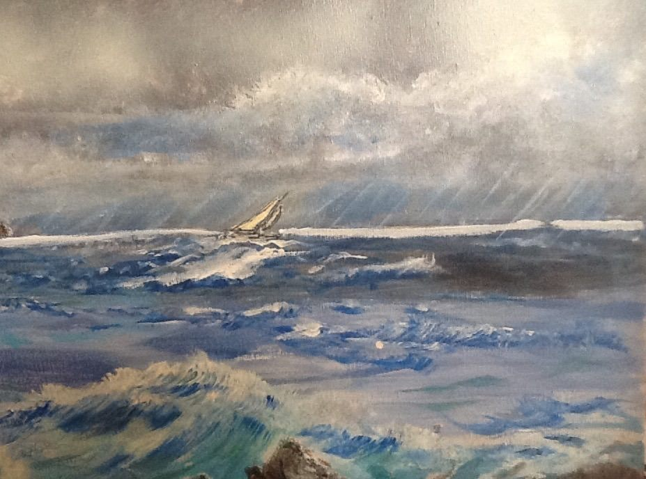Storm Approaching Lighthouse - (Sailboat Detail)