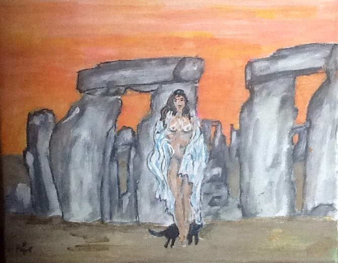 Wiccan Woman at Stonehenge