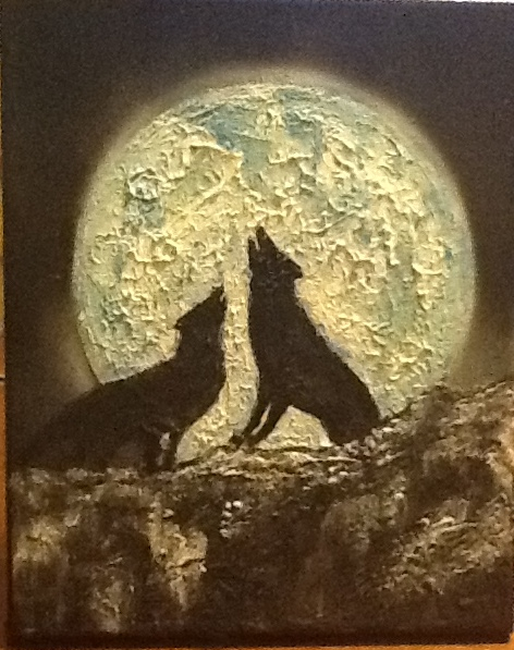 Wolves Howling at Moon