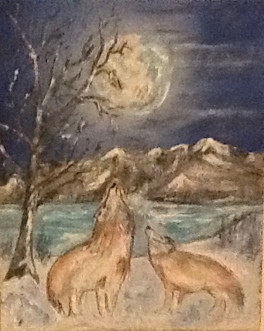 Wolves Howling at Moon in Snow