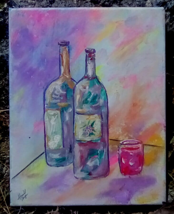 How to Turn a Bad Day Into a Good One - Wine Bottle Artwork by Merrill August James Thayer