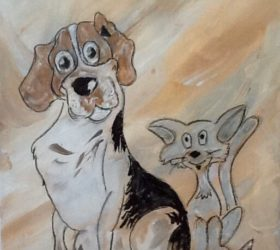 Best Friends Cartoon Painting by Merrill august James Thayer