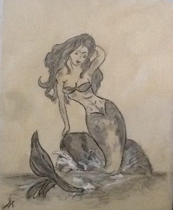 Mermaid Black and White